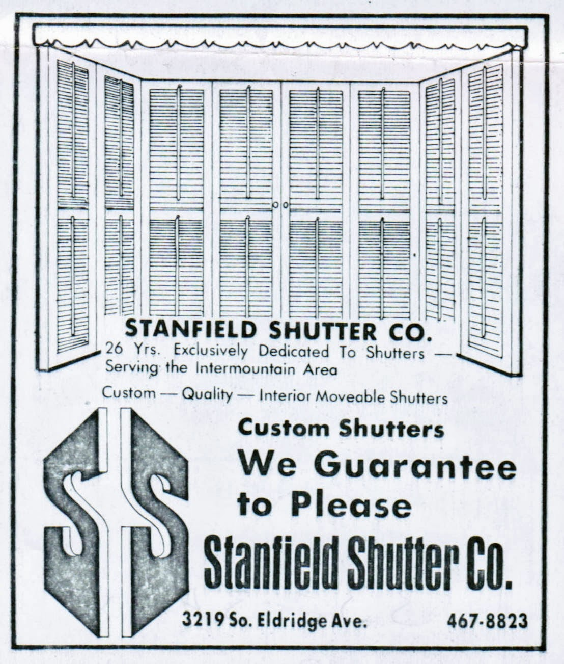 Stanfield Shutter ad from 1976