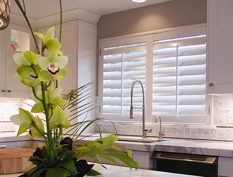 Waterproof Over Sink White Shutters